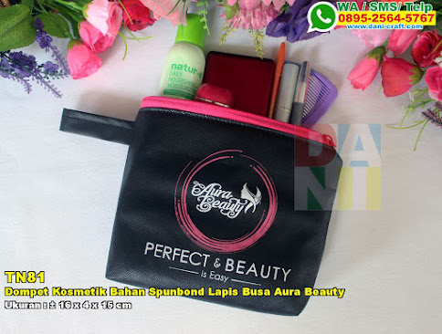 Dompet Kosmetik Bahan Spunbond Lapis Busa Aura Beauty