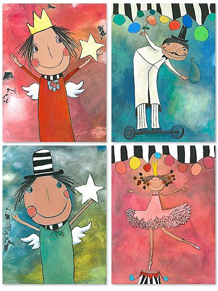 Acrylbilder Zauberer und Primaballerina