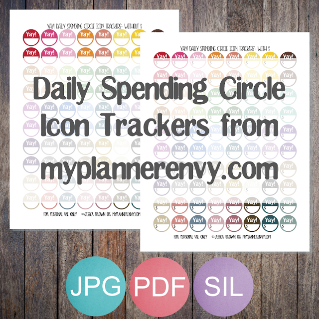 Yay! Daily Spending Circle Icon Trackers from myplannerenvy.com