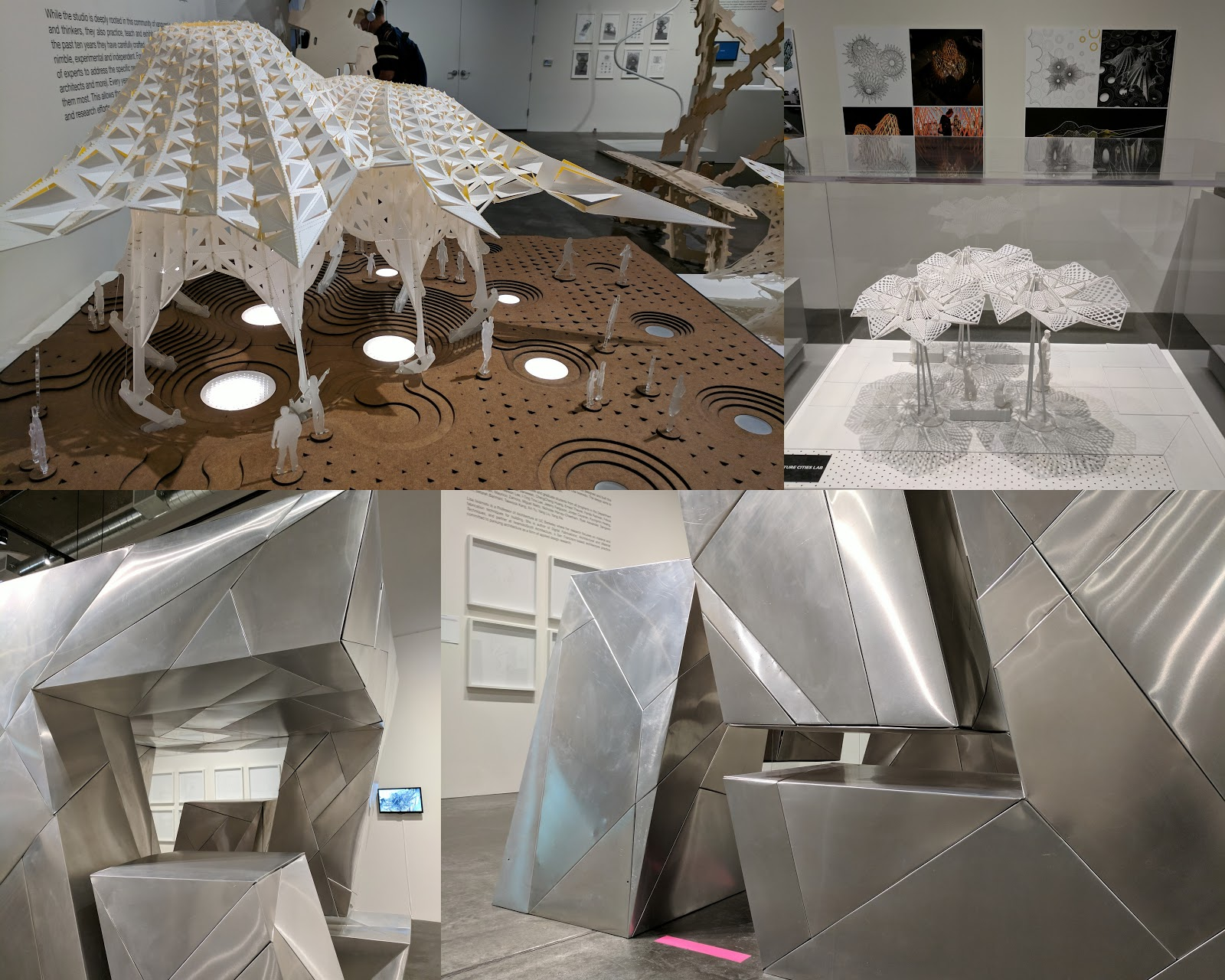 Clockwise from top left: Future Cities Lab (x2), Iwamoto Scott Architecture, floating sculpture detail and overall view