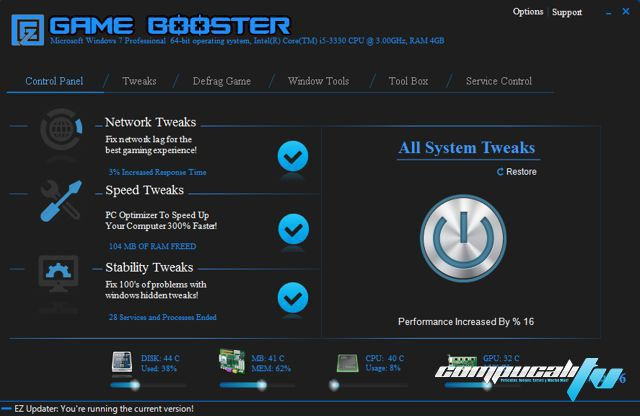 EZ Game Booster PRO Versión 1.6.3 Full - Optimiza PC para juegos