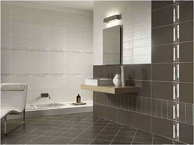 Bathroom Design Dark Floor Light Walls so it Looks more Fun