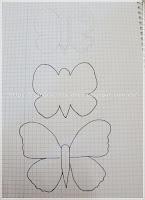Esquema de los patrones para hacer los broches mariposa