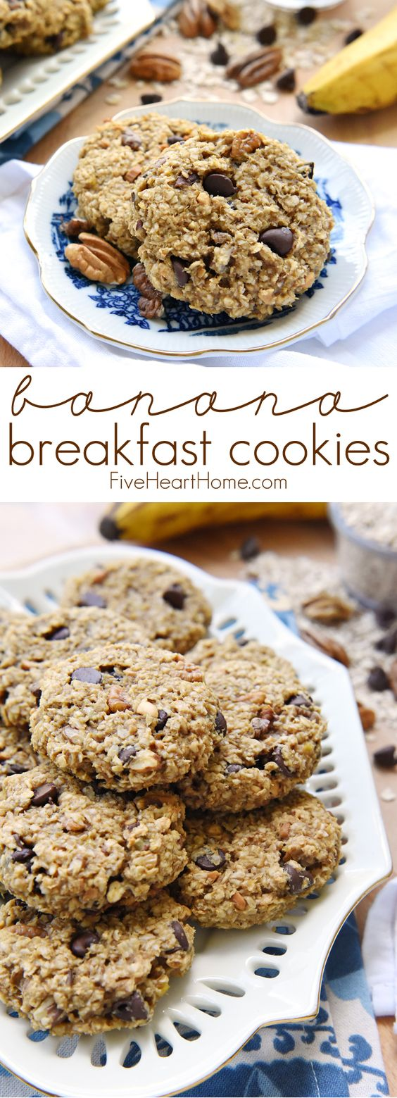Banana Breakfast Cookies ~ a wholesome, yummy breakfast on-the-go that's naturally sweetened, gluten-free, and perfect for using up ripe bananas! | FiveHeartHome.com