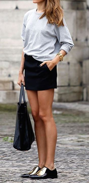 casual style addiction: top + bag + skirt