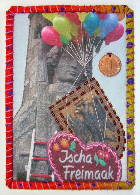 Robin Atkins, Travel Diary Quilt, detail, Freimaak celebration in Bremen, Germany