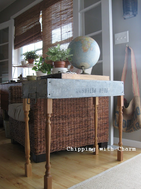 Chipping with Charm:  Tool Tote to Console Table...http://www.chippingwithcharm.blogspot.com/