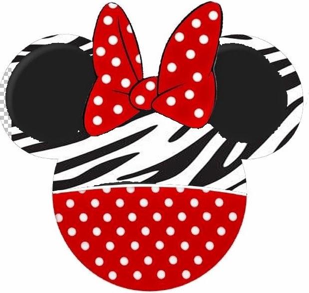 Toppers o Etiquetas de Minnie Cebra y Rojo para imprimir gratis.