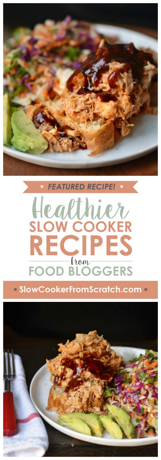 Slow Cooker Barbecue Shredded Chicken from The Kitchn featured on SlowCookerFromScratch.com