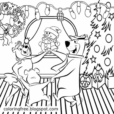 Winter American celebration clipart yogi bear theme kids party ideas Christmas coloring activities