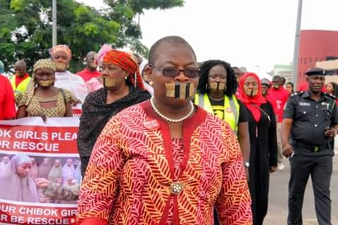 Photos Of Dr. Ezekwesili, Other #BBOG Campaigners Held By Police En route Aso Rock In Sellotaped Mouth Protest