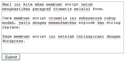 Membuat Paragraf Otomatis dengan Script PHP