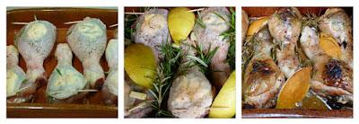 Pollo asado al limón y romero. Horneado