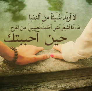 لا اريد شيا من الدنيا ف انا اشعر انني اخذت نصيبي من الفرح حين احببتك