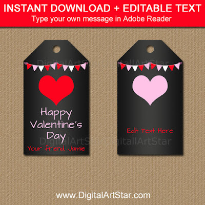 printable Valentine's Day chalkboard tags with red and pink accents