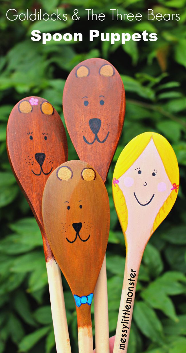 Goldilocks and the Three Bears Wooden Spoon Puppet Craft for Kids: Perfect for pretend play