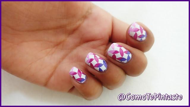 nail art stamping degradado morado