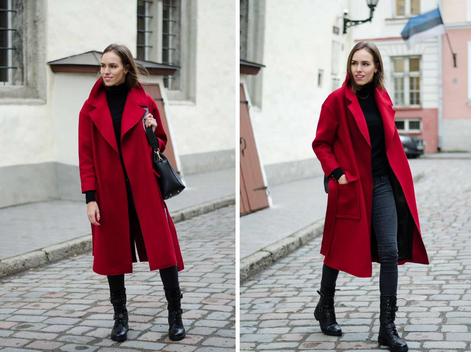 red coat casual fall outfit