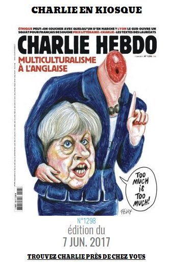 Em nova charge, Charlie Hebdo decapita Theresa May