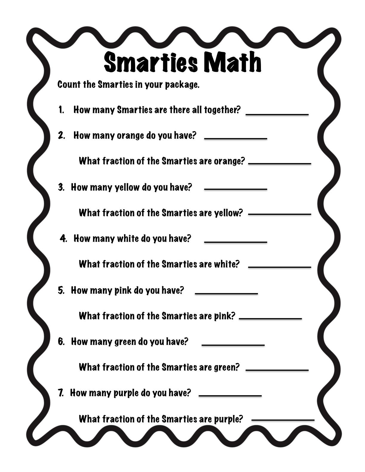 Smarties Fraction Worksheet