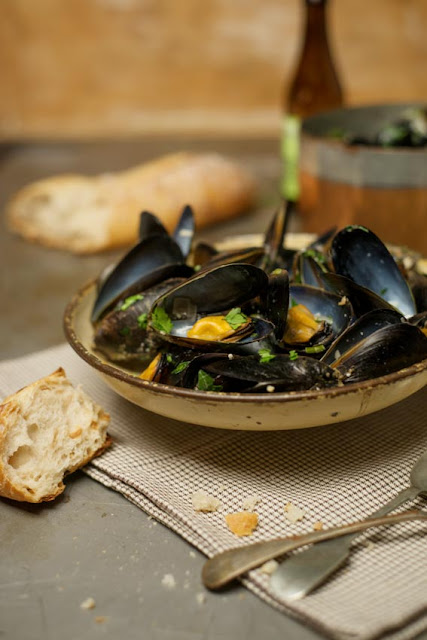 A bowl of Cider and Garlic Mussels