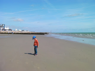 bognor seafront sands at low tide, butlins skyline tent in background