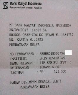 Struk pembayaran Premi bulanan JKN-KIS melalui ATM