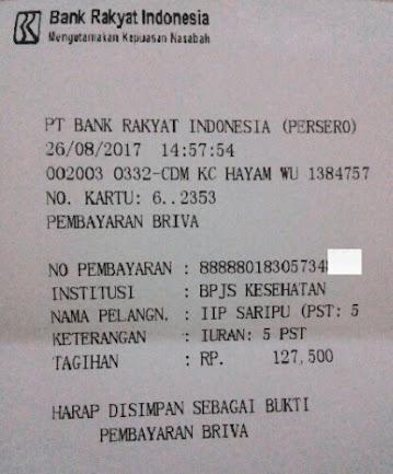 Slip pembayaran Premi bulanan JKN-KIS melalui ATM BRI