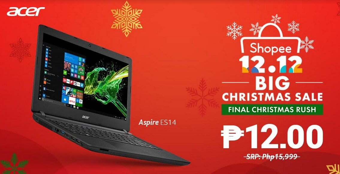 Acer Joins Shopee's 12-12 Big Christmas Sale with 12-Peso Laptops