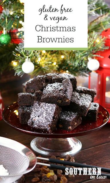 Easy Gluten Free Christmas Brownies Recipe - fruit cake brownies, christmas pudding brownies, gluten free, vegan, healthy, egg free, dairy free