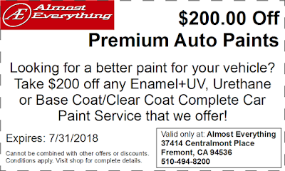 Discount Coupon $200 Off Premium Auto Paint Sale July 2018