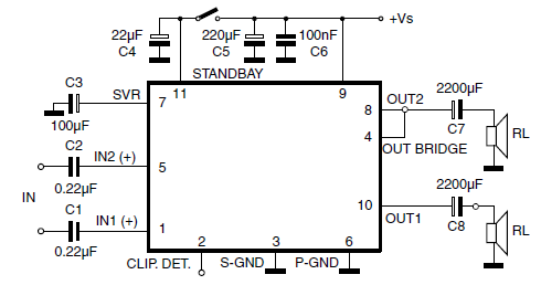 TDA7360 Stereo Amplifier Test and Application Circuit