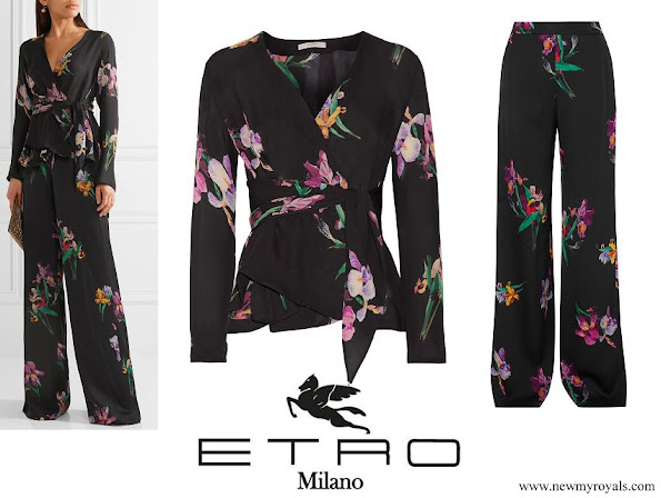 Crown Princess Mary wore ETRO Floral-print silk crepe de chine wrap blouse and Printed satin-crepe wide-leg pants