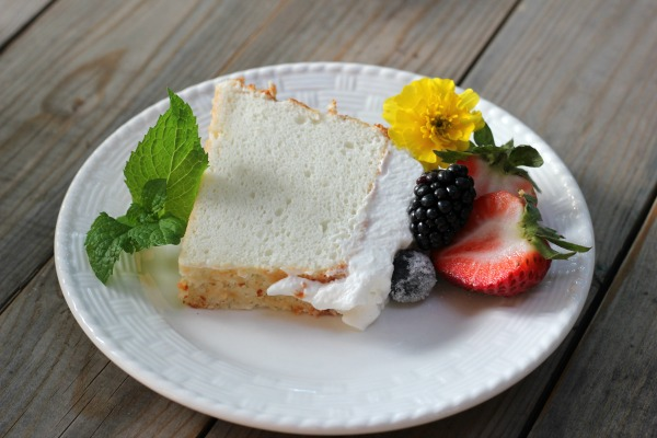 Homemade Angel Food Cake with Sugared Berries