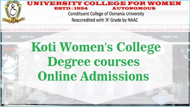 Koti Women's College,Online Degree Admissions,DOST Degree admissions