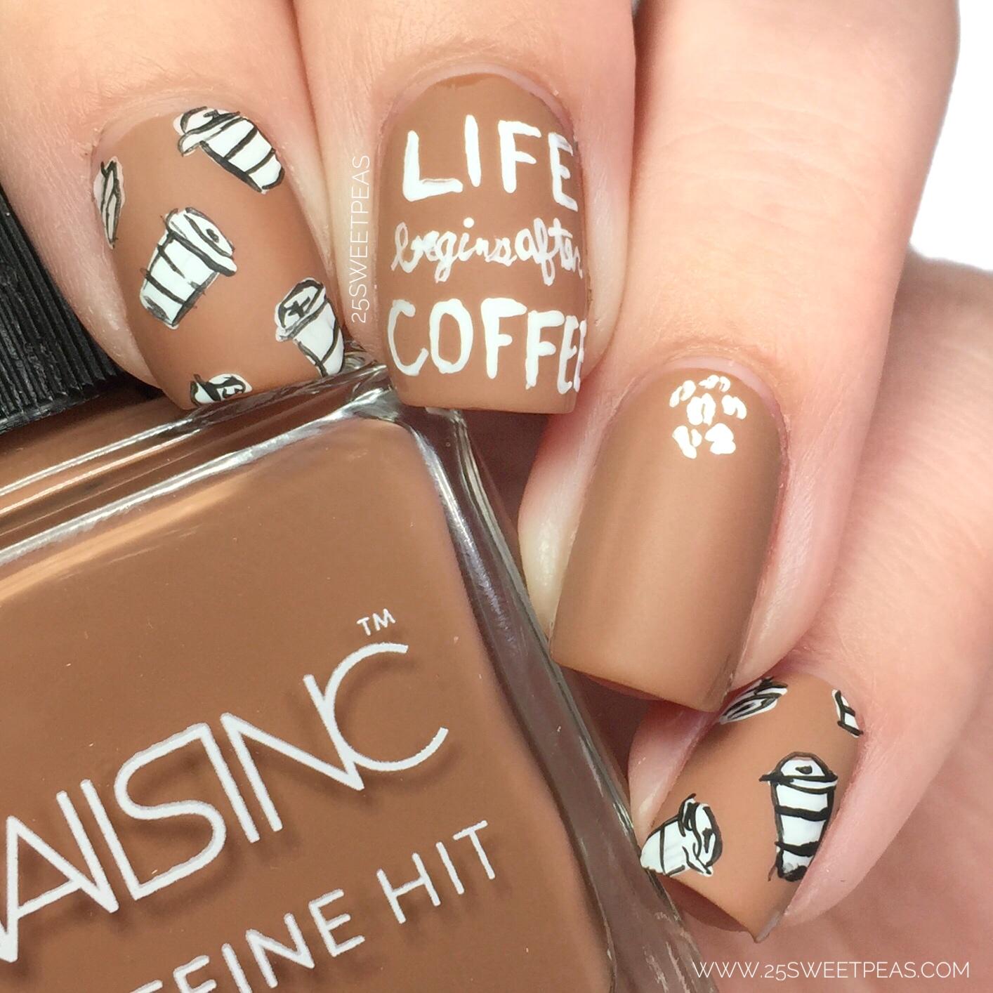 Nails Inc Caffeine Hit National Coffee Day Nail Art 25 Sweetpeas