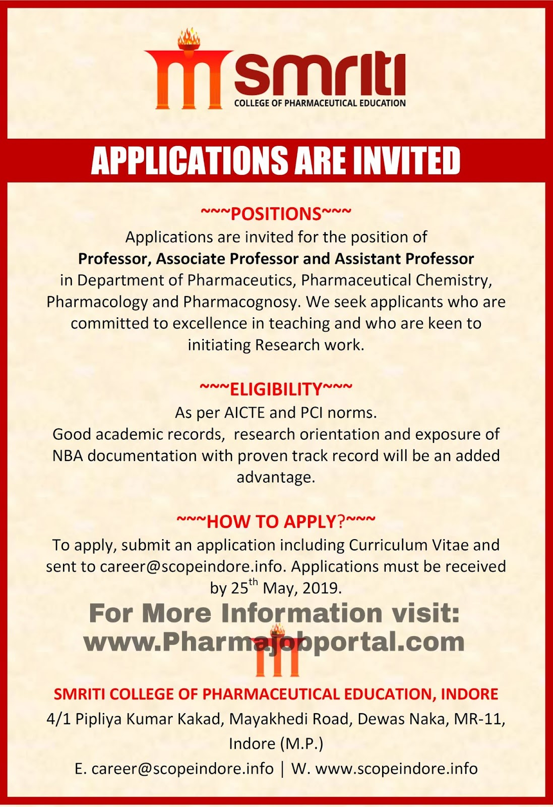 Applications Are Invited For The Position OfProfessor Associate