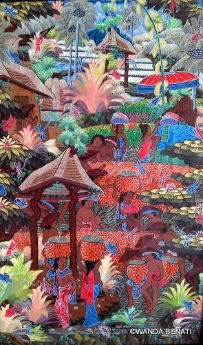 Scene di vita quotidiana, nel variopinto stile pittorico di Bali