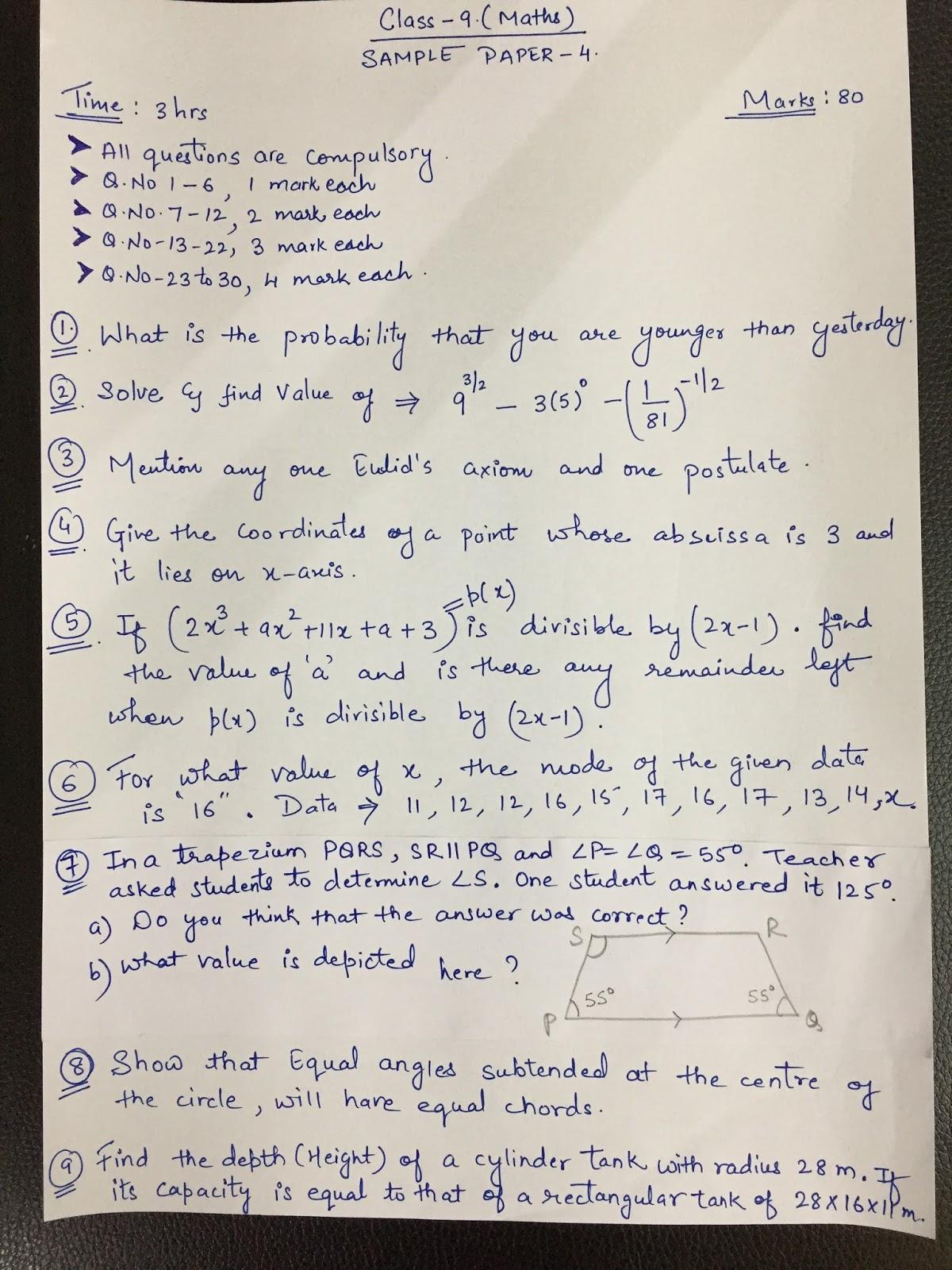 APS, Golconda | Priyanka Gupta: class 9/ MATHS/ sample paper 4