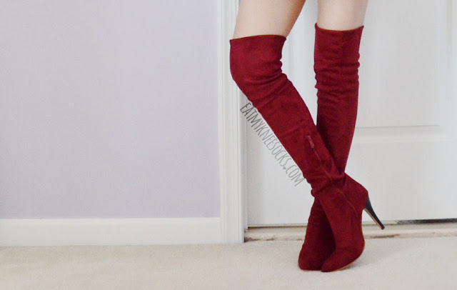 Details on the burgundy/wine red suede over-the-knee stiletto high heel boots from Milanoo--the perfect autumn boots.