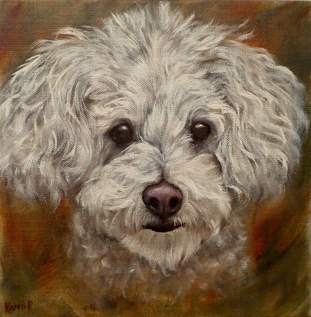 oil painting of a white poodle on linen