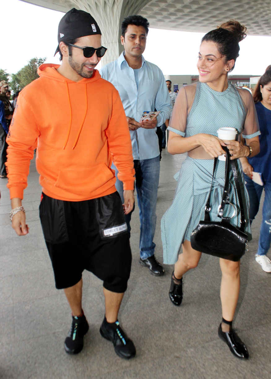 varun dhawan and taapsee pannu spotted at airport � webenty