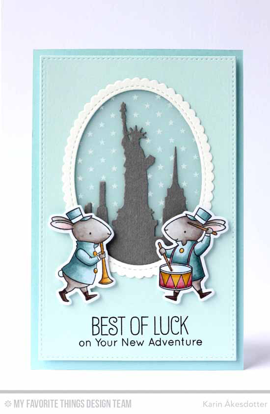 Best of Luck Card by Karin Åkesdotter featuring Birdie Brown Adventure is Calling stamp set, Birdie Brown Strike up the Band stamp set and Die-namics, Tiny Stars Background stamp, and New York Skyline, Stitched Mini Scallop Oval STAX, and Stitched Rectangle STAX Die-namics #mftstamps