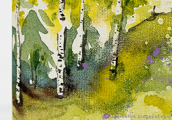 Layers of ink - Watercolor Meadow Notebook Tutorial by Anna-Karin Evaldsson. Field of white anemones.