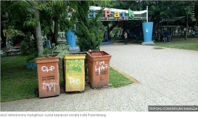 Aksi Vandalisme Warnai Keindahan Wisata Taman Kota Palembang