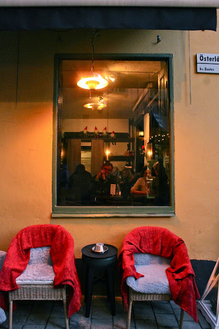 Many cafés provide rugs outside, stockholm