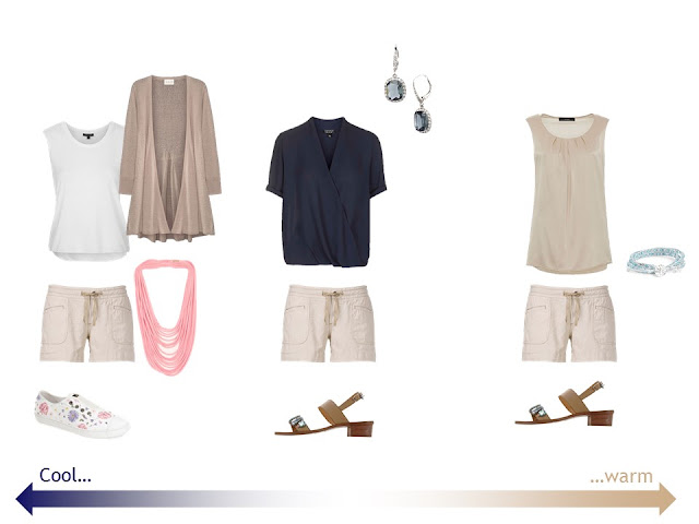 "three outfits from a ""Whatever's Clean 13"" warm weather travel capsule wardrobe in navy, beige and white"