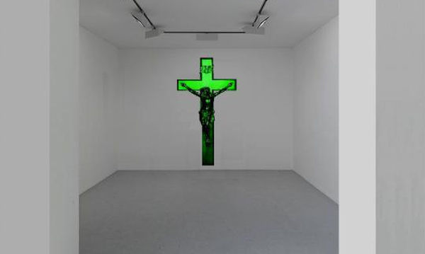 Chewing gum spearmint crucifix: 110 in x 58 inches.  The artwork naturally diffuses the smell of mint.