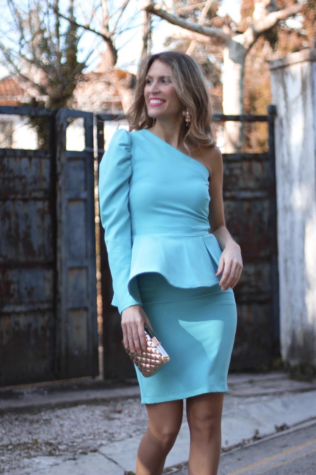 vestido boda azul turquesa