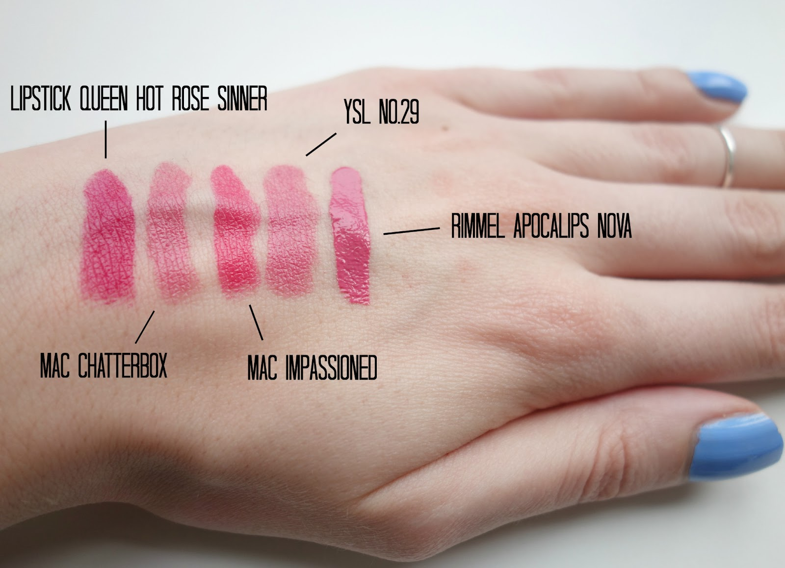 lipstick queen hot rose sinner, mac chatterbox, mac impassioned, ysl rouge volupte no 29 rose opera, rimmel apocalips nova
